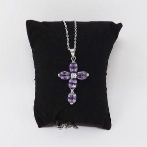 "CZ Lavender Cross Pendant on a 16"" Silver Chain"